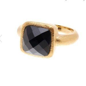 Rivka Friedman Petite Faceted Onyx Satin Ring